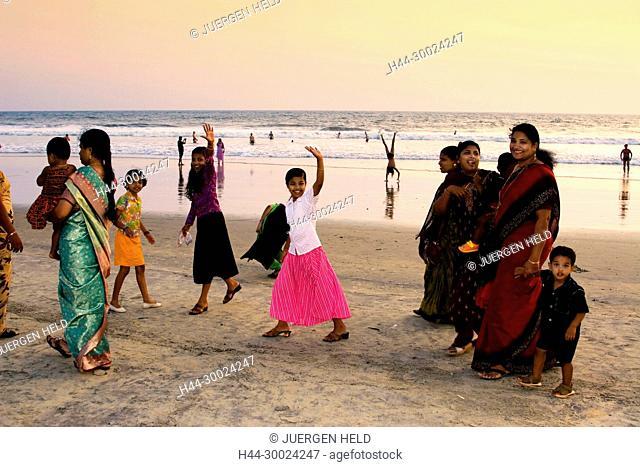 India Kerala Vakala beach indian people