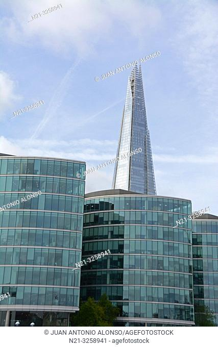 The Shard Building stands out behind office buildings at The More London Development on the Thames Waterfront. London, England, Great Britain