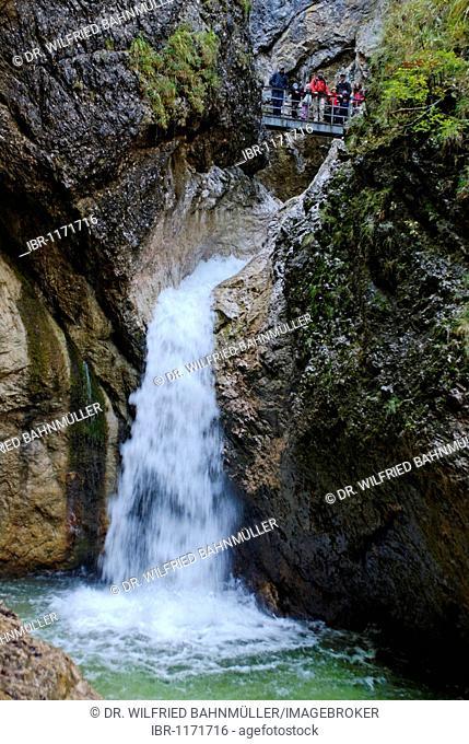 Waterfall in the Almbachklamm gorge near Marktschellenberg, Berchtesgadener Land, Upper Bavaria, Germany, Europe