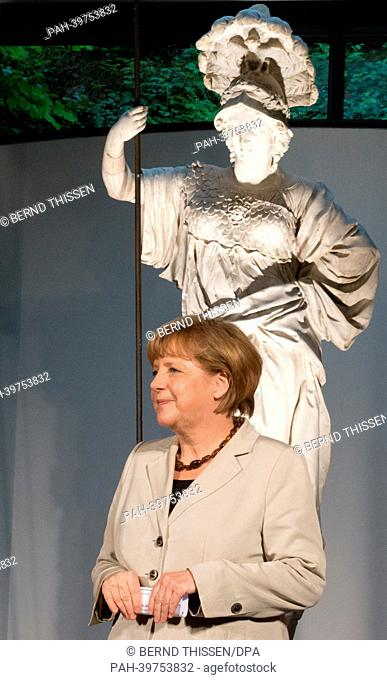 German Chancellor Angela Merkel takes part in a reception for first German-DutchCabinet Meeting at the Kurhaus Museum in Kleve, Germany, 23 May 2013