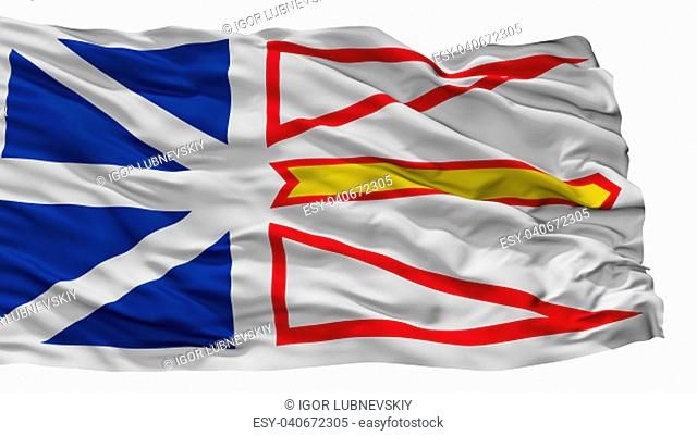Newfoundland And Labrador City Flag, Country Canada, Isolated On White Background