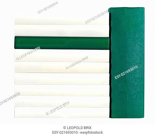 Buchrücken in grün und weiß