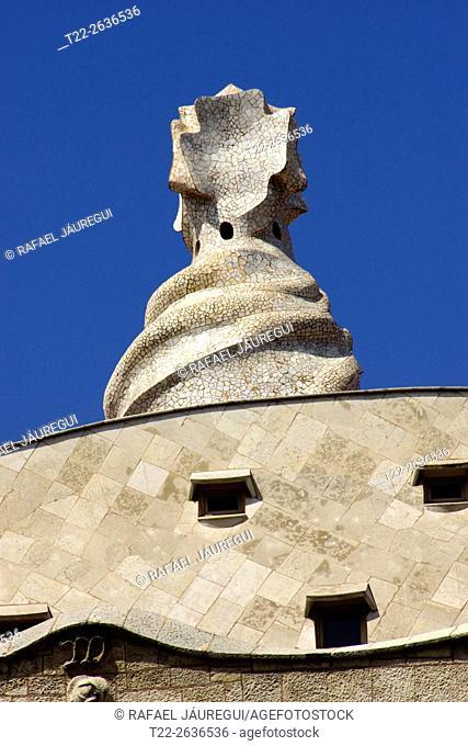 Barcelona (Spain). Architectural detail of Casa Mila (La Pedrera) in Barcelona
