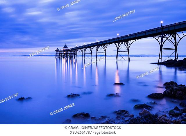 The Victorian pier at Clevedon in the Bristol Channel, North Somerset, England