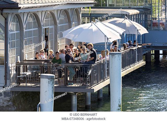 Bar at the pier, Lucerne, Lake Lucerne, Canton Lucerne, Switzerland