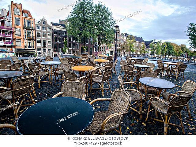 Outdoor Café van Zuylen on the Torensluis bridge on the corner of the Singel canal in Amsterdam