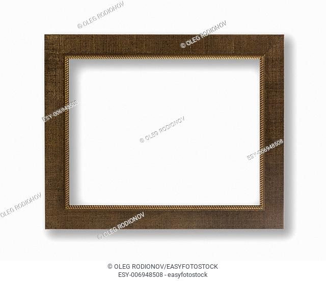 Old Antique Brown Frame With Shadows Isolated On White Background