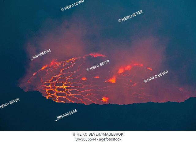 Boiling lava lake in the crater of Mount Nyiragongo volcano