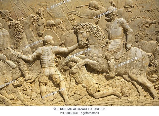 Relief carving of a battle scene. Palacio de Carlos V. Palace of Charles V. Alhambra, UNESCO World Heritage Site. Granada City
