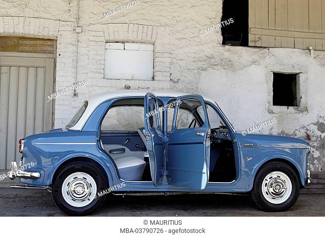 Vintage car, Fiat 1100, year of construction unknown, blue, standing, open doors