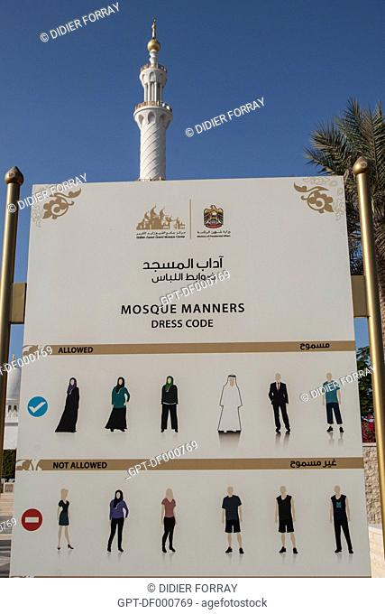DRESS CODE AT THE ENTRANCE TO THE SHEIKH ZAYED GREAT MOSQUE, ABU DHABI, UNITED ARAB EMIRATES, MIDDLE EAST