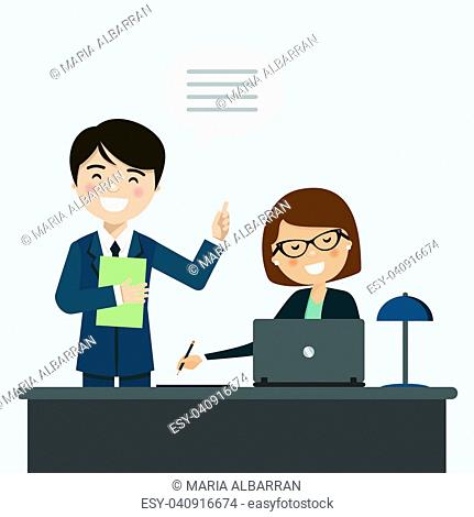 Businessman talking with his secretary at the office. Vector illustration