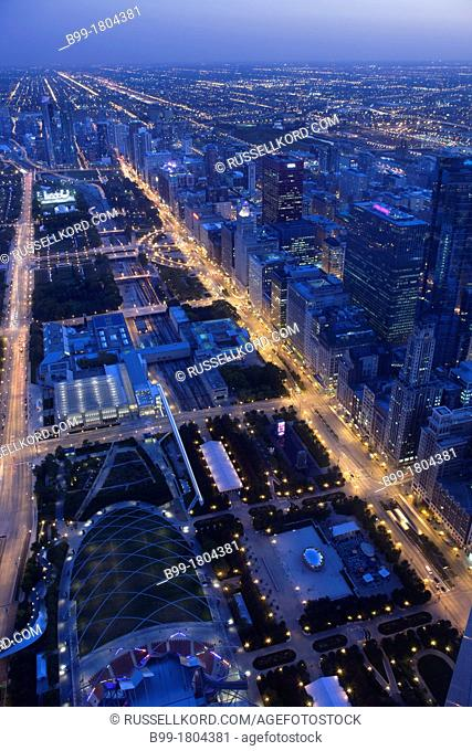 Millennium Park In Grant Park From Mid America Club At The Aon Center Downtown Chicago Illinois USA