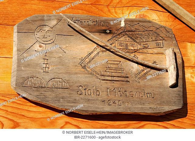 Bavarian wooden barometer, Stoibenmoeser Alm alp, Reit im Winkl, Chiemgau, Bavaria, Germany, Europe