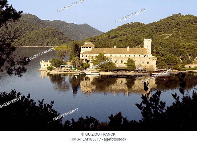 Croatia, Dalmatia, Dalmatian coast, Mljet island National Park, old benedictin monastery on the Saint Mary isle in the Veliko Jezero