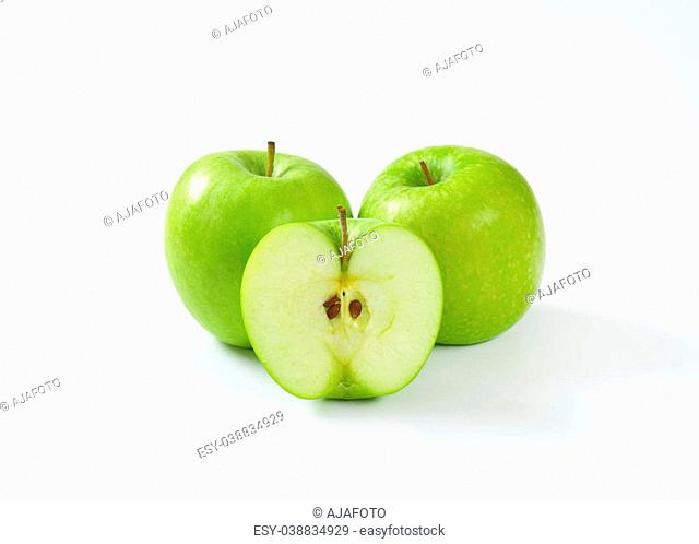 Two whole and half a green apple