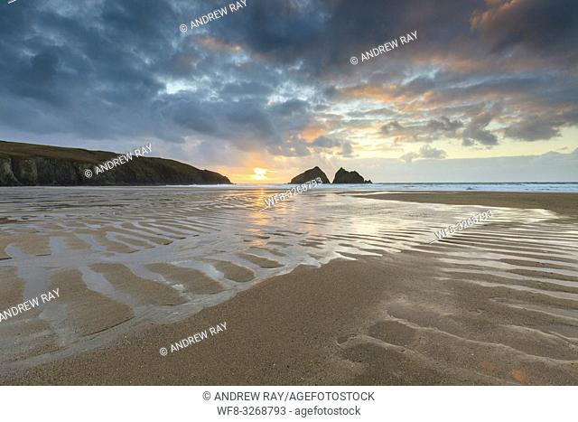 Beach patterns at Holywell Bay on the North coast of Cornwall, captured shortly before sunset in late February