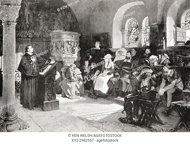 Martin Luther preaching in Wartburg Castle, Germany in 1521. Martin Luther, 1483 - 1546. German professor of theology, composer, priest