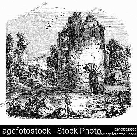 Castle Ruins kendal, vintage engraved illustration. Colorful History of England, 1837