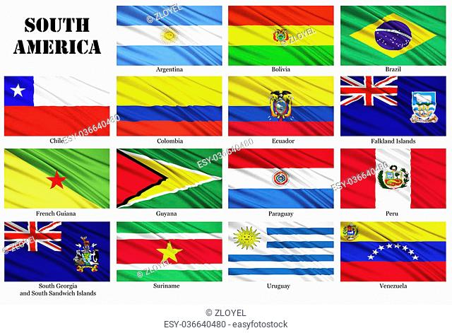 Set of flags of South American countries, in alphabetical order, including dependent territories