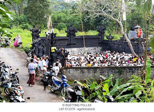 Balinese people at Odalan temple festival, Iseh, Sidemen, Karangasem, Bali, Indonesia