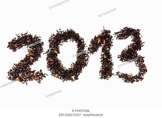 2013 number written with berry's tea leaves