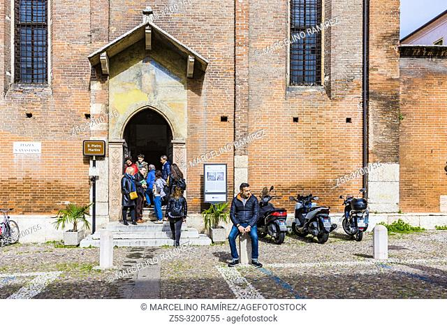 Entrance to Chiesa di San Giorgetto o San Pietro Martire church. Interiors of San Giorgetto is a remarkable work of art with various frescos and paintings