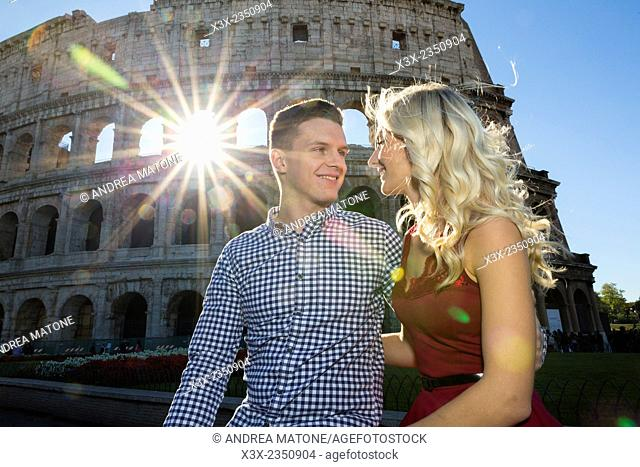 Couple at the Roman Colosseum in Rome Italy