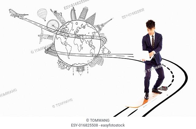 business man enjoy high speed network bandwith for worldwide web