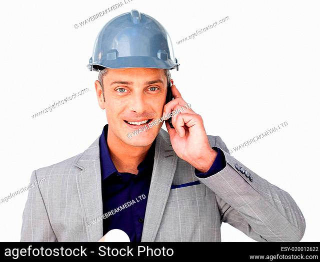 Charismatic male architect on phone