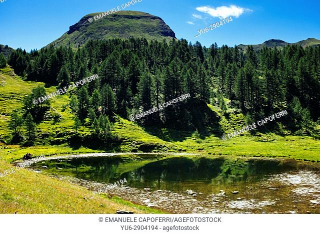 Alpine lake and mountain landscape, Alpe Devero, Italy