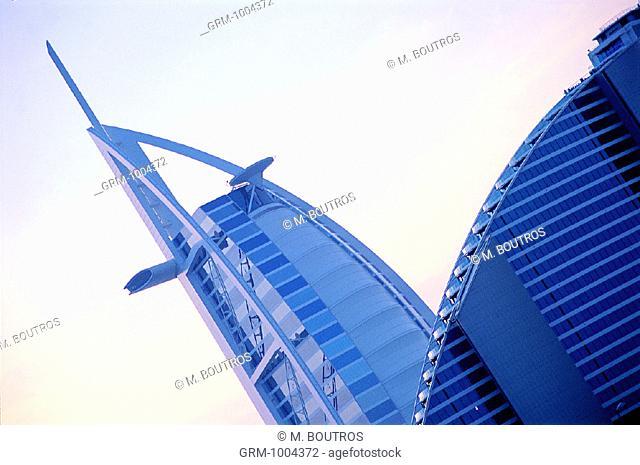 Burj Al Arab hotel and Jumeirah Beach hotel in Dubai, UAE