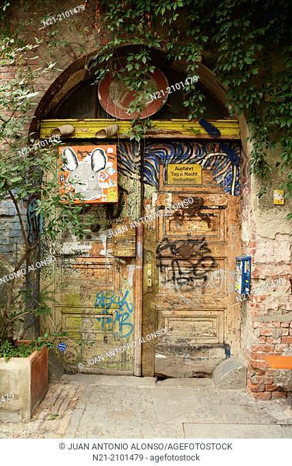 Graffiti on old door. Berlin-Mitte. Berlin, Germany, Europe