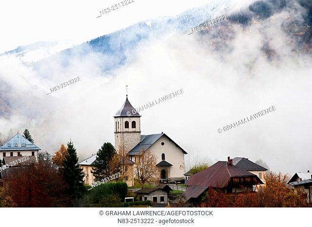 An autumn view towards the village of Marthod in the Val d'Arly region of the French Alps, Savoie, France