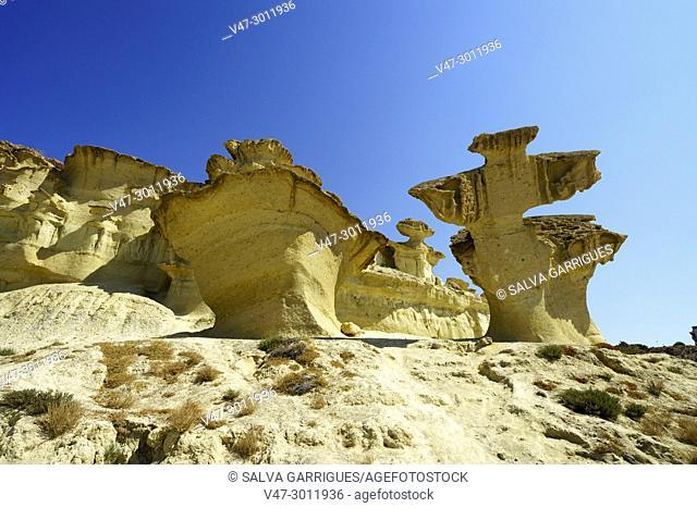 Natural sculptures created by erosion in Bolnuevo, Mazarrón, Murcia, Spain, Europe