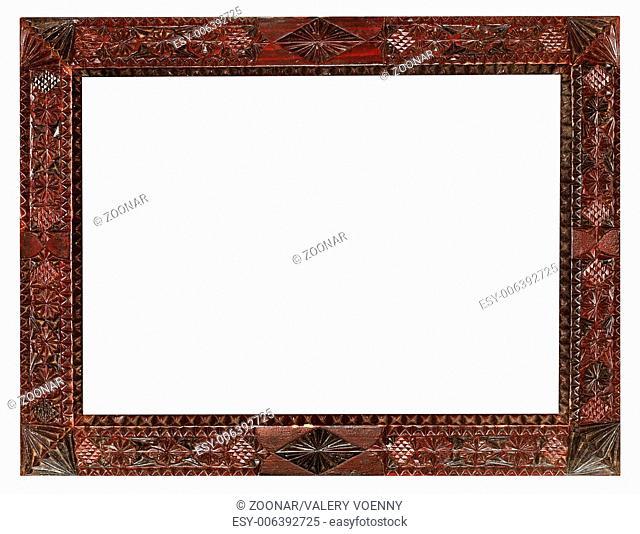 vintage wide carved wooden picture frame