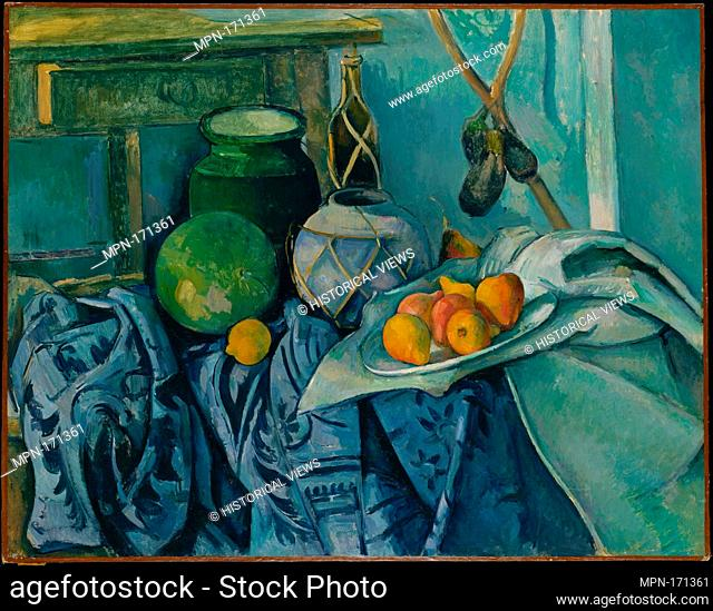 Still Life with a Ginger Jar and Eggplants. Artist: Paul Cézanne (French, Aix-en-Provence 1839-1906 Aix-en-Provence); Date: 1893-94; Medium: Oil on canvas;...