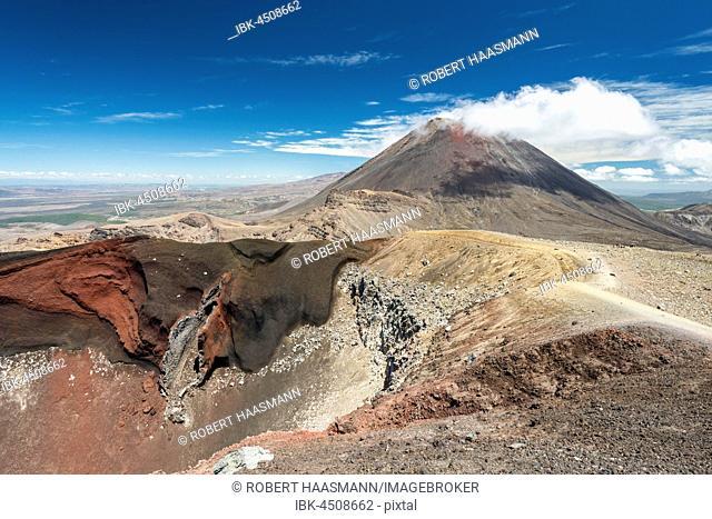 Red Crater, Mount Ngauruhoe behind, active volcano, volcanic landscape, Tongariro Alpine Crossing, Tongariro National Park, North Island, New Zealand