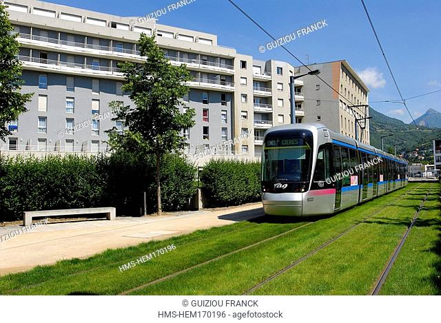France, Isere, Grenoble, tram in the Europole district