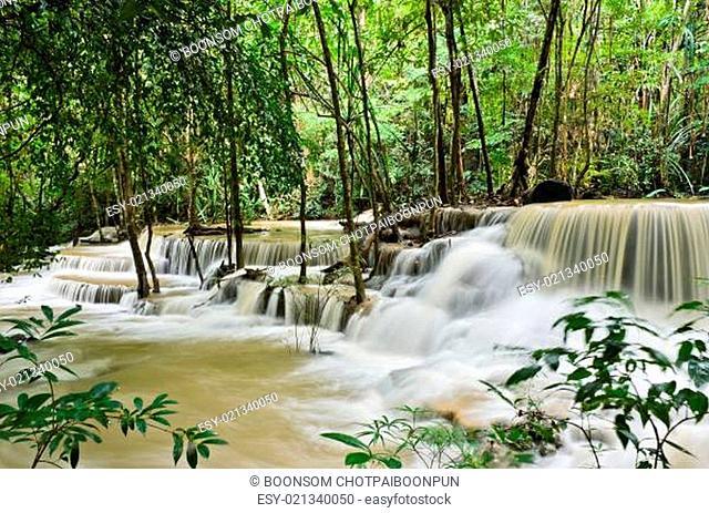 Beautiful waterfall in tropical rainforest, Thailand