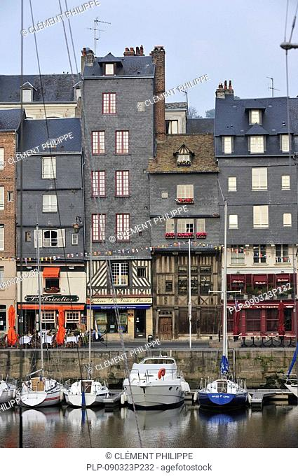 Sailing boats in the old harbour of Honfleur, Normandy, France