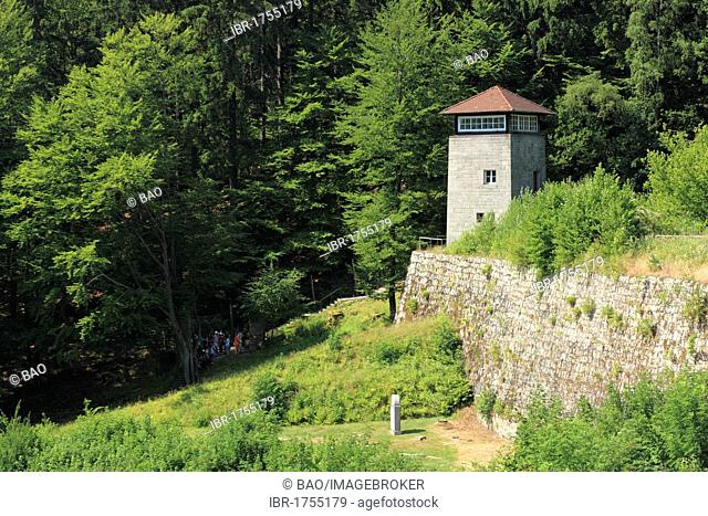 Former guard tower and the Valley of Death in Flossenbuerg Concentration Camp Memorial, district of Neustadt an der Waldnaab, Upper Palatinate, Bavaria, Germany