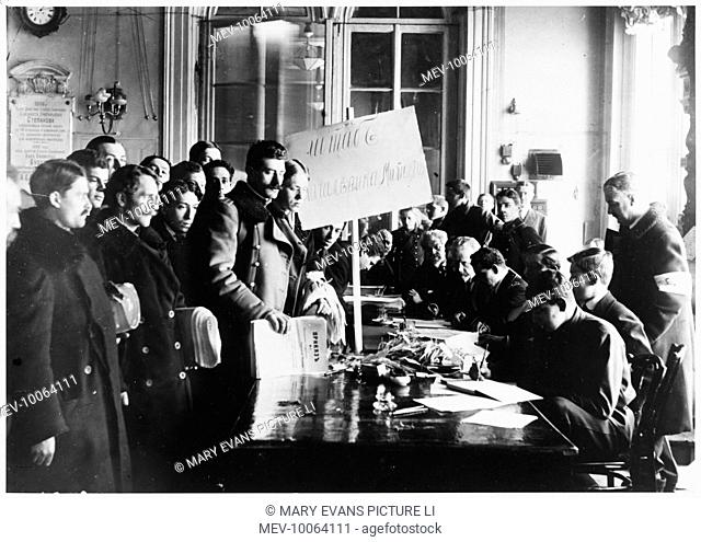 Volunteers sign up for the People's Militia in the Tauride Palace