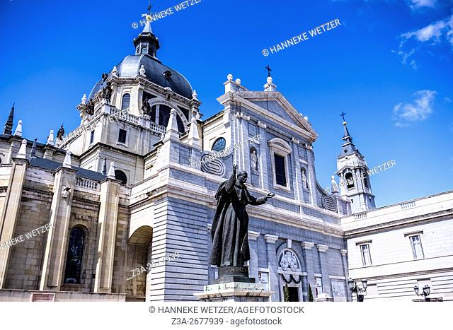 Cathedral of Almudena with the statue of Pope John Paul II in Madrid, Spain, Europe