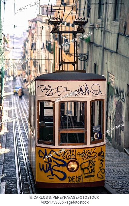 Bica elevator in Lisbon's Bairro Alto, Portugal, Europe