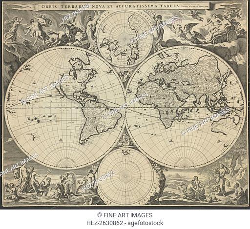 Orbis terrarum nova et accuratissima tabula, ca 1690. Artist: Visscher, Nicolaes (1618-1679)