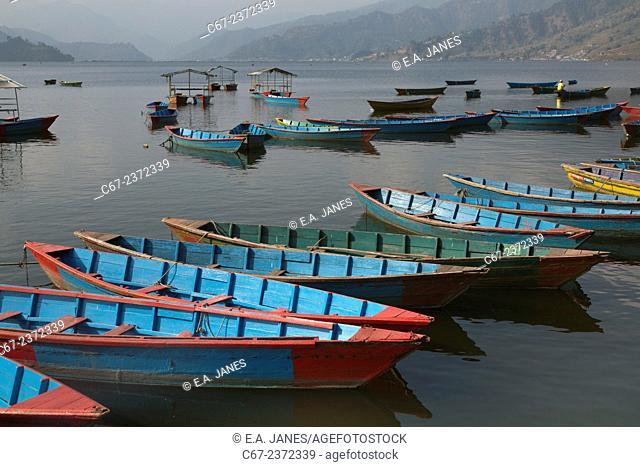 Boats on Begnas Lake Pokhara Nepal