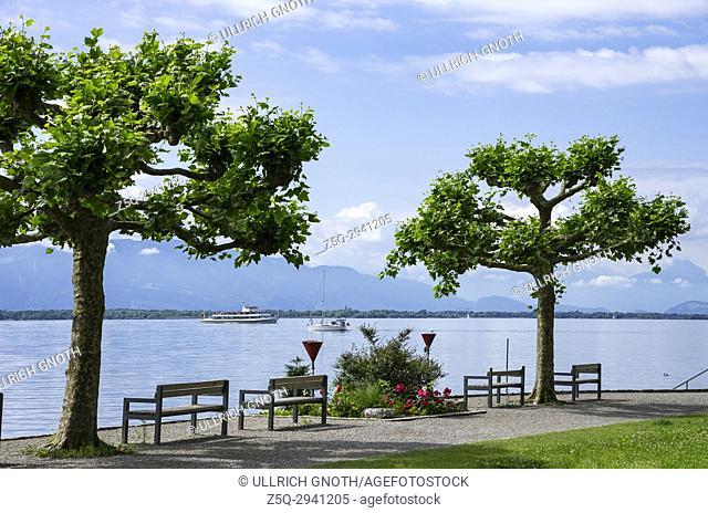 View across Lake Constance from Lindau, Bavaria, Germany, towards Austria