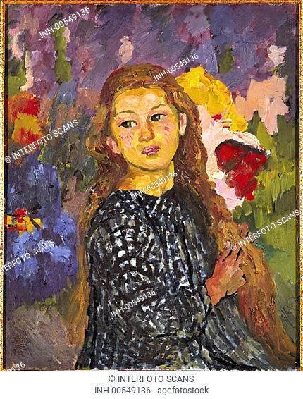 fine arts, Giacometti, Giovanni, 1868 - 1933, painting, portrait Ottilia Giocametti, 1912, oil on canvas, 61 cm x 50 cm, Oskar Reinhart museum, Winterthur