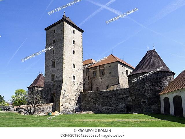 Water Castle Svihov, the dominant main tower, White Bastion on the right and the South Palace between them. (CTK Photo/Roman Krompolc)
